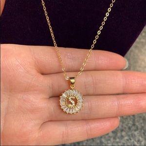 """New 18K gold """"S"""" CZ diamond necklace"""